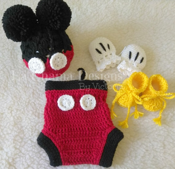Mickey Mouse Crochet Outfit Baby Boy Crochet Outfit Baby Hat Etsy