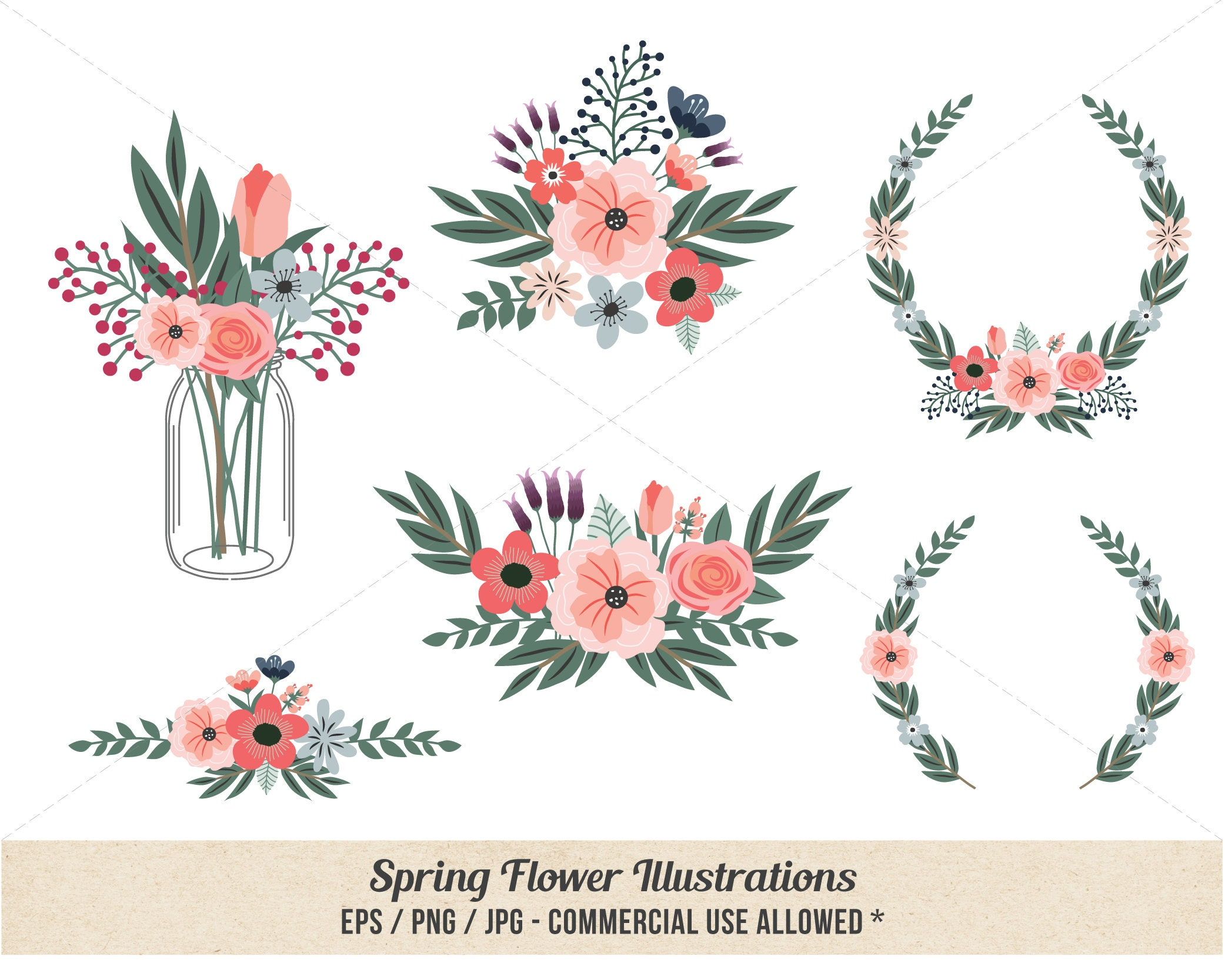 Floral Clipart Spring Flower Clipart Hand Drawn Etsy