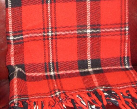 Vintage Blanket, Faribo Blanket, Acrylic Plaid Blanket, Made in USA, Tartan Plaid, Stadium Blanket, Cozy Cabin, Lap Blanket