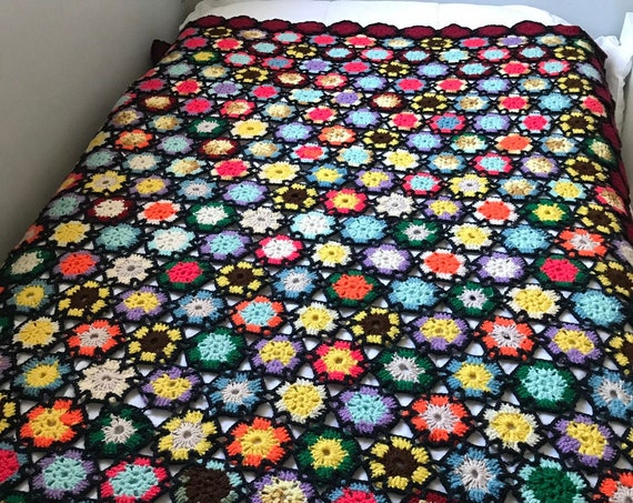 Hand Crochet Multicolored Afghan | Vintage Knit Blanket | Cozy Cabin | Boho Blanket | Reading Blanket | Cabin Blanket | Retro Style Blanket