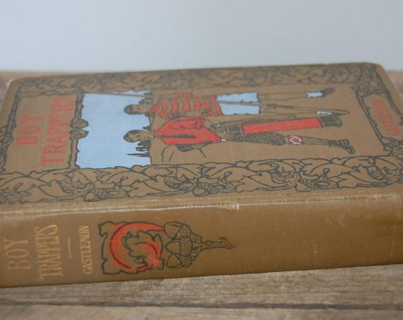 The Boy Trapper | 1900's Book | Antique Book | Collectible Book | Decorative Book | Library Decor | Outdoor Adventure
