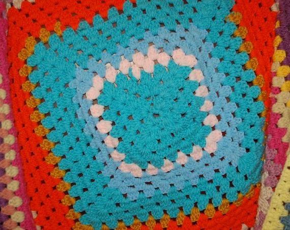 Vintage Afghan, Crochet Blanket, Multicolored Blanket, Spring Cover, Housewarming Blanket