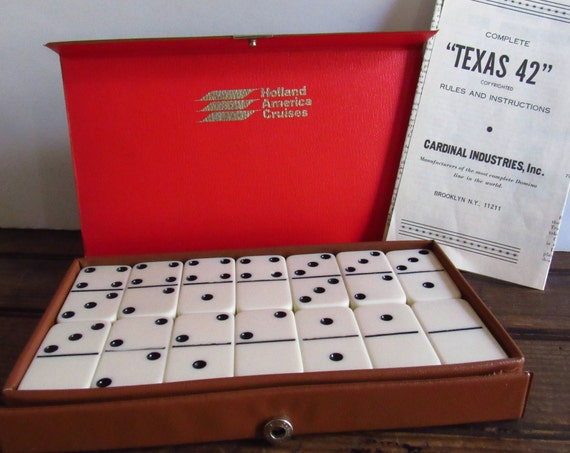 Vintage Dominoes, Bakelite Plastic Dominoes, 28 Domino Pieces, Vintage Game, Game Tiles, Vinyl Travel Case, Holland America Cruises Souvenir