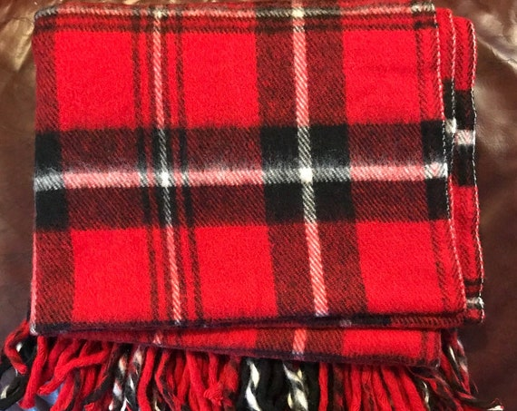 Vintage Plaid Blanket, Faribo Blanket, Acrylic Picnic Blanket, Made USA, Tartan Plaid, Stadium Blanket, Cozy Cabin, Football Cover, Tailgate