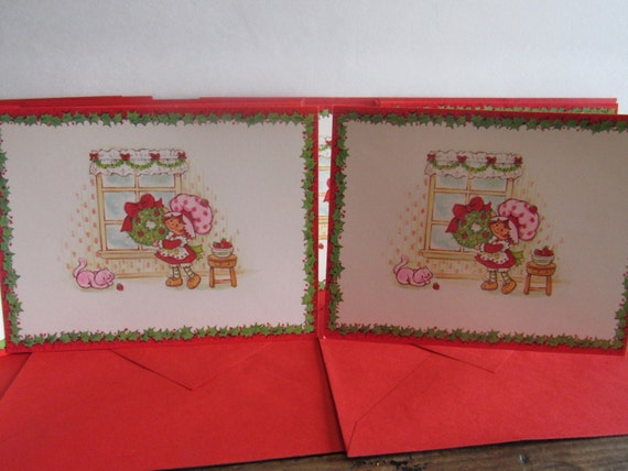 Vintage Strawberry Shortcake Christmas Cards, Retro Holiday Party, 9 Matching Cards, Holiday Cards