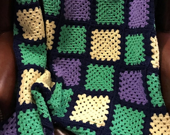 Hand Knit Purple Green Yellow Afghan, Vintage Knit Blanket, Cozy Cabin, Perfect for Chilly Winter Nights, Get Cozy, Stay Inside Blanket