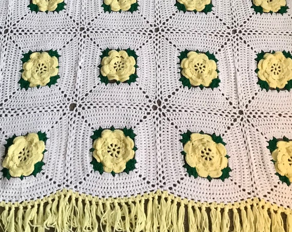 Hand Crochet Yellow and White Floral Afghan | Yellow Flowers Throw | Spring Floral Blanket | Hand Knit Floral Throw | Think Happy Decor