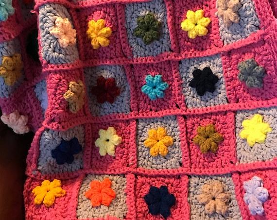 Vintage Boho Blanket | Pink Floral Blanket | Cottage Chic | Boho Love Decor | Pretty in Pink | Winter Blanket | Heirloom Blanket