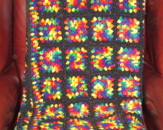 Vintage Hand Crocheted Granny Square Afghan, Heirloom Knit Blanket, Cozy Cabin, Multicolored Blanket, Winter's Day Blanket, Great Gift Idea