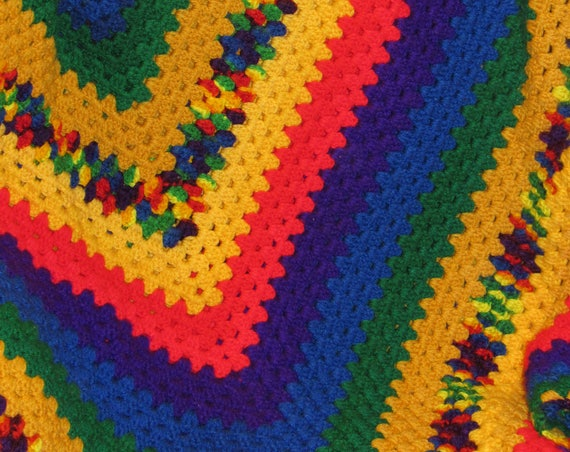 Hand Knit Primary Rainbow Afghan, Vintage Knit Blanket, Cozy Cabin, Oversized Blanket, Perfect for Chilly Summer Nights, Great Gift Idea