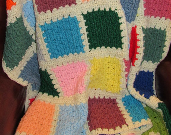 Hand Knit Multicolored Afghan, Vintage Knit Blanket, Cozy Cabin, Cuddly Blanket, Perfect for Chilly Fall Nights, Great Hostess Gift Idea