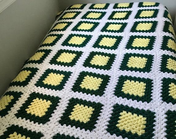 Vintage Knit Granny Square Afghan | Hand Knit Blanket | Crocheted Afghan | Cozy Cabin | Reading Nook | Lancaster County | Heirloom Blanket
