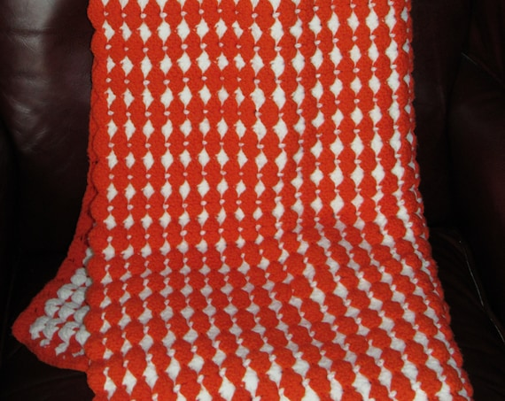 Hand Knit Orange & White Afghan | Vintage Knit Blanket | Cozy Cabin | Heavy Warm Blanket | Perfect for Chilly Nights | Housewarming Gift