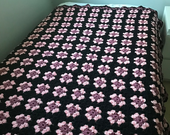 Hand Crocheted Black Pink Mauve Granny Square Afghan |Vintage Knit Blanket | Cozy Cabin | Perfect for Winter |Take Cover | Housewarming Gift