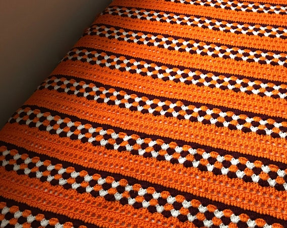 Hand Knit Orange and White Afghan | Vintage Knit Blanket | Cozy Cabin | Perfect for Chilly Nights | Get Cozy | Cottage Home