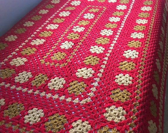 Vintage Knit Granny Square Afghan | Red and Yellow | Hand Knit Blanket | Crocheted Afghan | Cozy Cabin | Lancaster County | Reading Nook