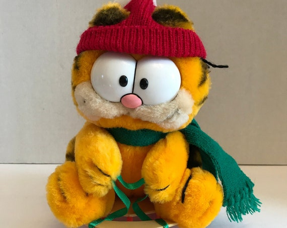 Vintage Garfield Plush ~ Dakin Plush 1981 ~ New with Tags ~ Garfield the Cat Winter Plush ~ Sledding Stuffed Animal ~ Retro Comic Cat