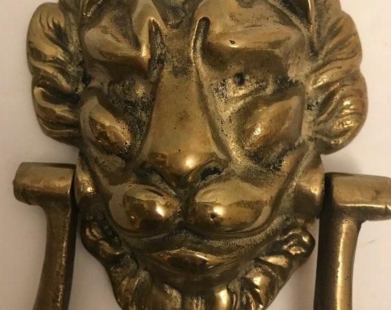 Lion Head Brass Door Knocker | Regal Lion Door Knocker | Vintage Door Knocker | Brass Lion Head Knocker | Front Door Decor