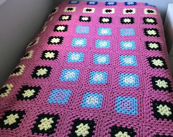 Vintage Pink Granny Square Afghan | Hand Knit Blanket | Crocheted Afghan | Cottage Decor |  Reading Nook | Lancaster County | Porch Decor