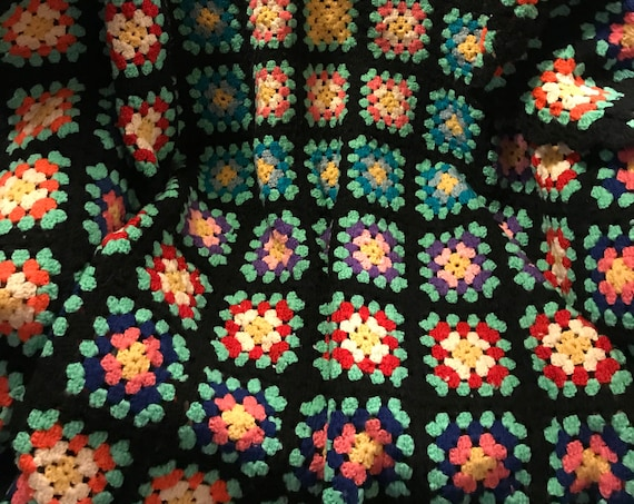 Hand Crocheted Black Granny Square Afghan, Vintage Knit Blanket, Cozy Cabin, Perfect for Winter, Take Cover, Housewarming Gift