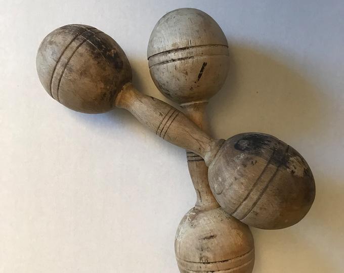 Featured listing image: Vintage Wooden Barbells ~ Set of 2 Wooden Dumbbells ~ Antique Gym Decor ~ Wooden Workout ~ Study Decor ~ Conversation Piece