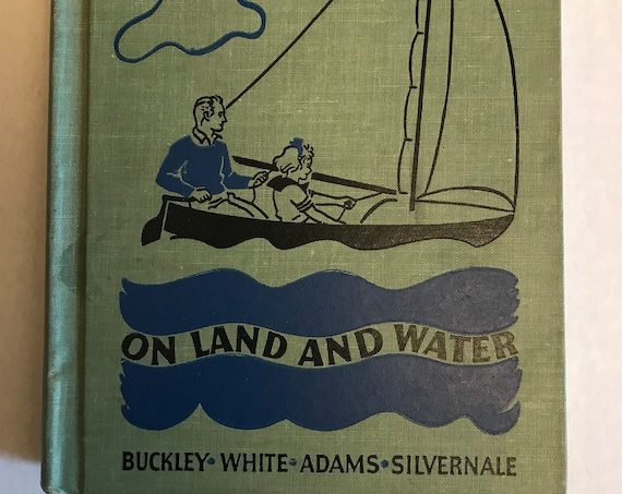Vintage Safety Book | 1938 Antique Book | Outdoor Safety | On Land and Water Hardcover | Green Cloth Book | Road to Safety HC | Old Book
