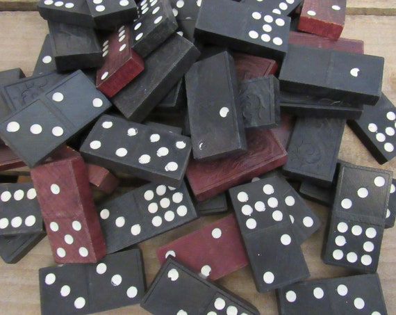 Vintage Wooden Dominoes | Dragon Dominoes | Vintage Game Pieces | 51 Game Tiles | Wooden Dominoes | Mixed Lot | Altered Art Lot