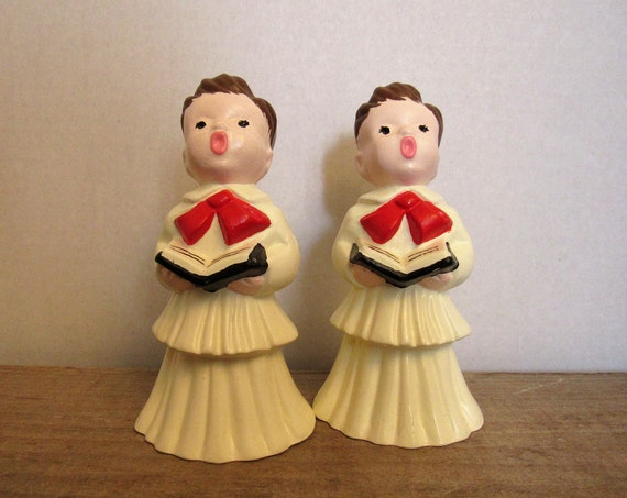 Vintage Christmas Choir Boys, Pair of Singing Boys, Retro Christmas Decor, Red and White, Cottage Chic Holiday, Twin Choir Boys, Celebrate