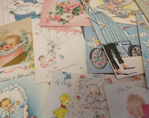 Vintage Nursery Card Lot ~ Baby Arrival Cards ~ Vintage Baby Cards ~ Lot of 22 Vintage Nursery Congratulations Greeting Cards ~ Pink & Blue