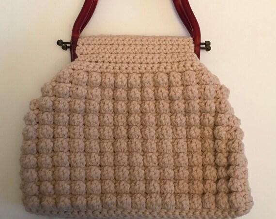 Boho Handbag | Cream Knit Bag | Bakelite Handles | Retro Fashion Purse | Spring Fashion Accessory | Bohemian Fashion