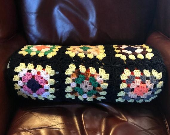 Vintage Granny Square Bolster Pillow, Boho Pillow, Apartment Decor, Cottage Chic Pillow, Black Granny Square Pillow