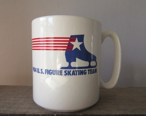 US Figure Skating Mug, 1984 US Figure Skating, Vintage Skating Mug, Coffee Mug, Ice Skating Mug, Red White and Blue Mug, Maxwell House Mug