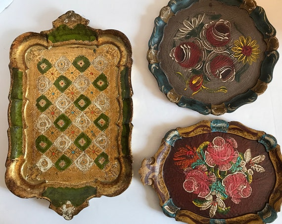 Vintage Toleware Trays ~ Renaissance Style Vintage Trays ~ Florentine Trays ~ Decorative Trays ~ Handpainted Wooden Trays ~ European Decor