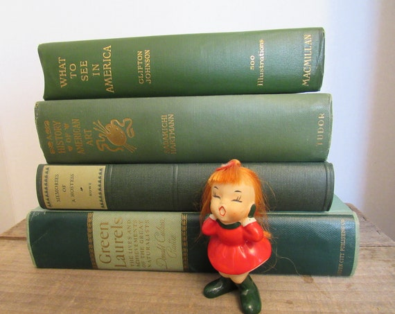 Go Green ~ Green Books Collection, Vintage Bookshelf Decor, Home Decor, Instant Library Decor, Vintage Books