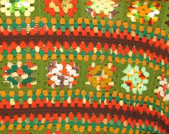 Hand Crocheted Granny Square Green Orange Brown Afghan, Vintage Knit Blanket, Cozy Cabin, Perfect for Chilly Summer Nights, Great Gift Idea
