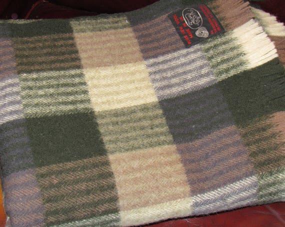 Vintage Stadium Blanket, Wool Blanket, Edinburgh Woollen Mill Blanket, Tartan Plaid, Cozy Cabin, Lap Blanket, Brown Grey Black, Picnic Cover