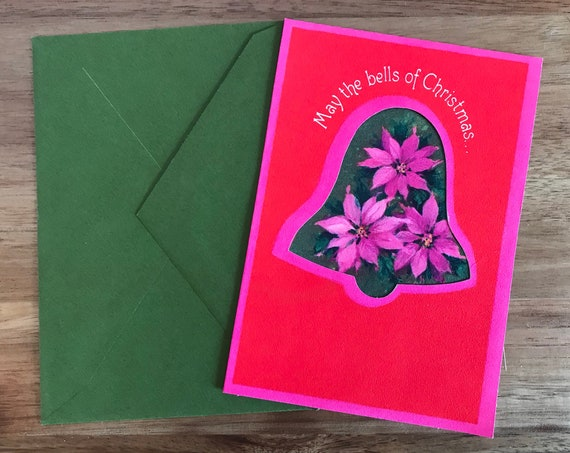 Hallmark Bells Christmas Card Lot ~ Pink Green Christmas Cards ~ Vintage Hallmark Cards ~ Nine Matching Hallmark Xmas Cards ~ Retro Cards