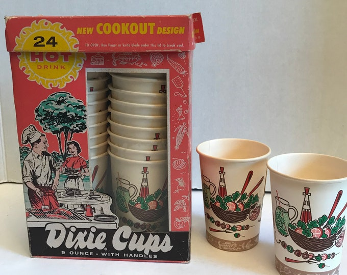 Featured listing image: Vintage Dixie Cups (20) ~ Cookout Design ~ Vintage Picnic Pattern ~ Comes with Box ~ Camping Fun ~ Outdoor Entertaining ~ Retro Camping