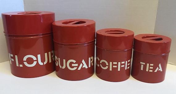 Vintage Red Metal Nesting Canister Set | Farmhouse Pantry | Flour Tin | Sugar Tin | Coffee Tin | Tea Tin | Kitchen Collectible Organization
