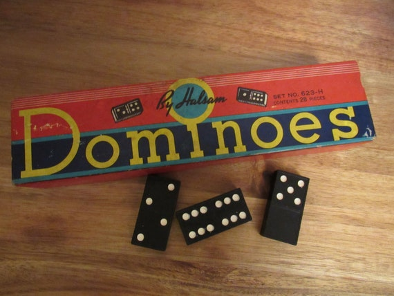 Vintage Dominoes by Halsam, 28 Domino Pieces, Vintage Game, Game Tiles, Primary Colors Box Included, Altered Art Craft Project, No 623-H