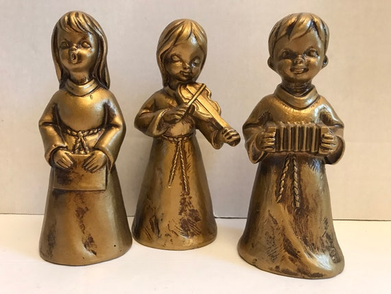 Vintage Choir Trio | Gold Painted Musicians | Christmas Gold | Angel Choral Members | Festive Gold | Christmas Decor | Festive Holiday