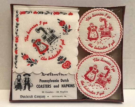 Pennsylvania Dutch Coasters & Napkins |  Vintage Picnic | New Old Stock | Outdoor Entertaining | 30 Coasters | 24 Napkins | New in Box