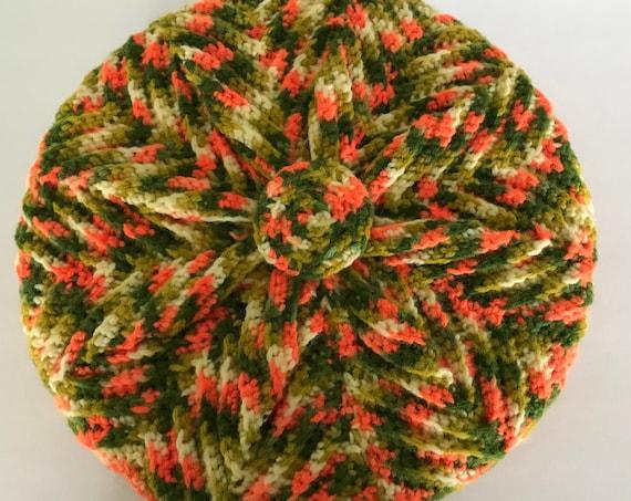 Vintage Knit Pillow | Grandmillennial Pillow | Orange Green and Cream Color Splash Knit Pillow | Retro Style| Cozy Cabin | Housewarming Gift