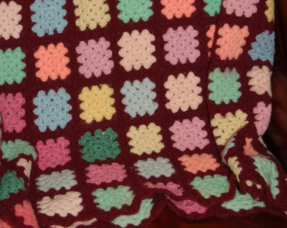 Vintage Wool Granny Square Afghan, Vintage Knit Blanket, Crocheted Afghan, Vintage Wool Blanket, Cozy Cabin, Reading Nook, Heirloom Blanket