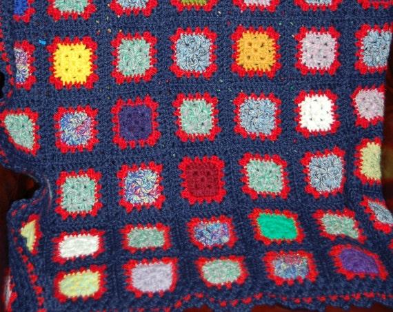 Hand Crochet Blue Granny Square Afghan | Vintage Knit Blanket | Cozy Cabin | Lap Blanket | Stay Warm Blanket | Great Gift Idea