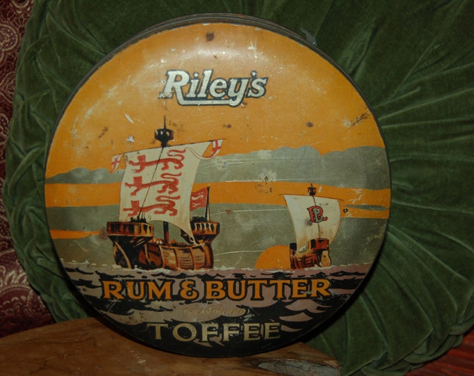 Featured listing image: Vintage Toffee Tin | Riley's Rum and Butter Toffee Tin | Kitchen Collectible | Nautical Tin | Graphic Art Tin | Orange Tin