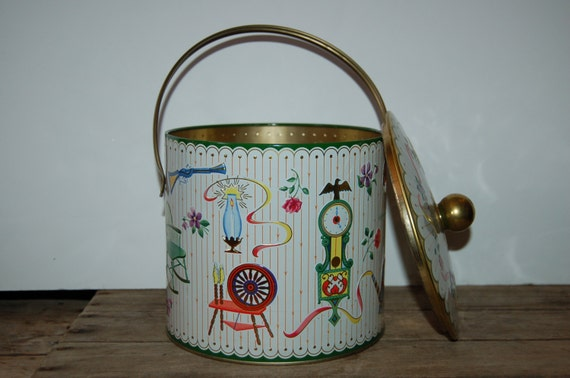 Vintage English Tin, Biscuit Tin, Handled Lidded Kitchen Tin, Kitchen Collectible, White and Gold Tin, Storage Tin, Floral Tin