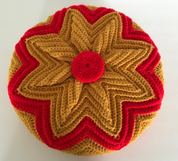 Vintage Knit Pillow | Grandmillennial Pillow | Red and Gold Knit Pillow | Retro Style| Cozy Cabin | Housewarming Gift