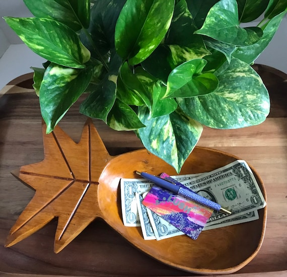 Vintage Wooden Pineapple Trinket Dish ~ Housewarming Catchall ~ Welcome Home Gift