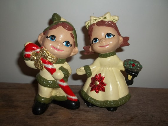 Vintage Christmas, Ceramic Boy and Girl, Ceramic Holidays, Red and Green, Retro Holiday, Candy Cane, Glitter